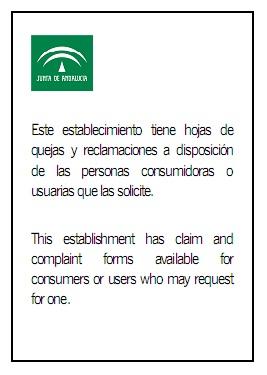 hoja de reclamaciones andalucia: