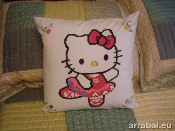 Hand Painted Cushion Hello Kitty